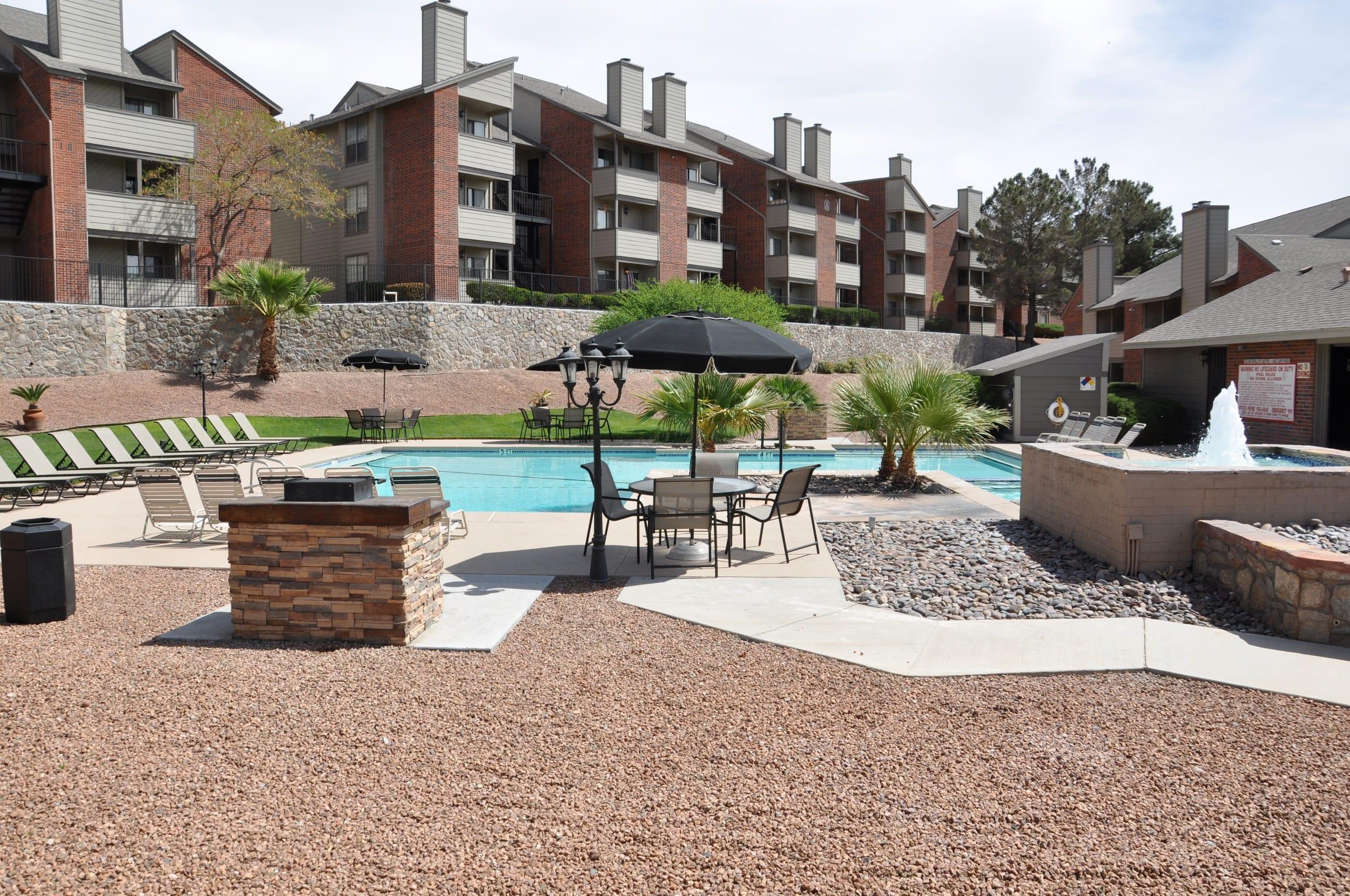 Swimming pool view at apartments in El Paso