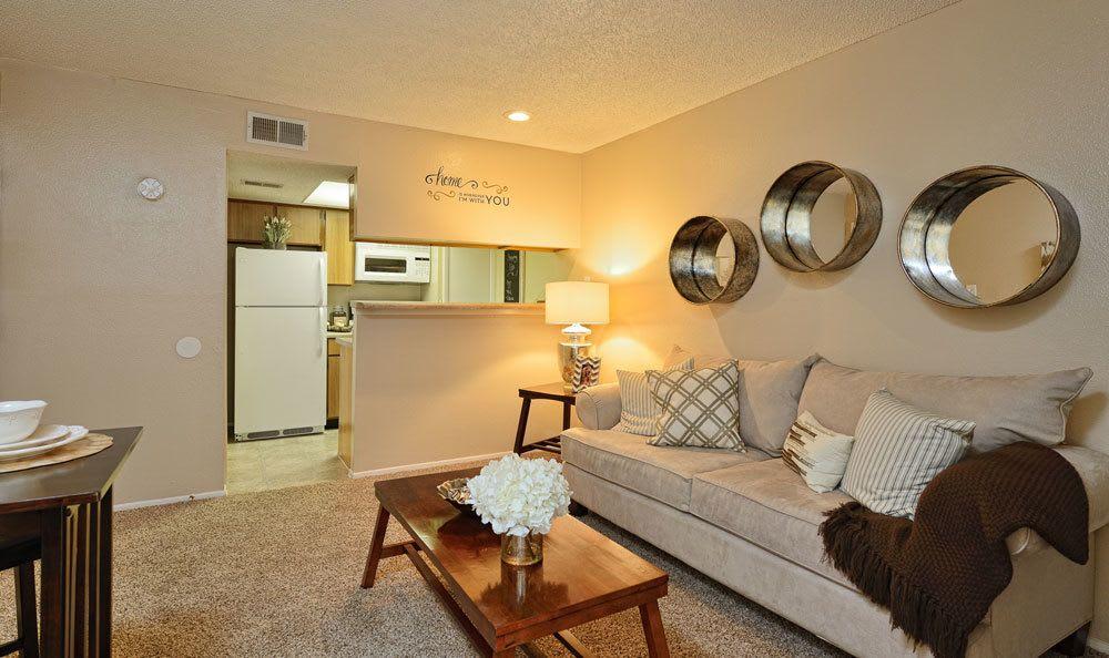 Bright living room at El Paso apartments