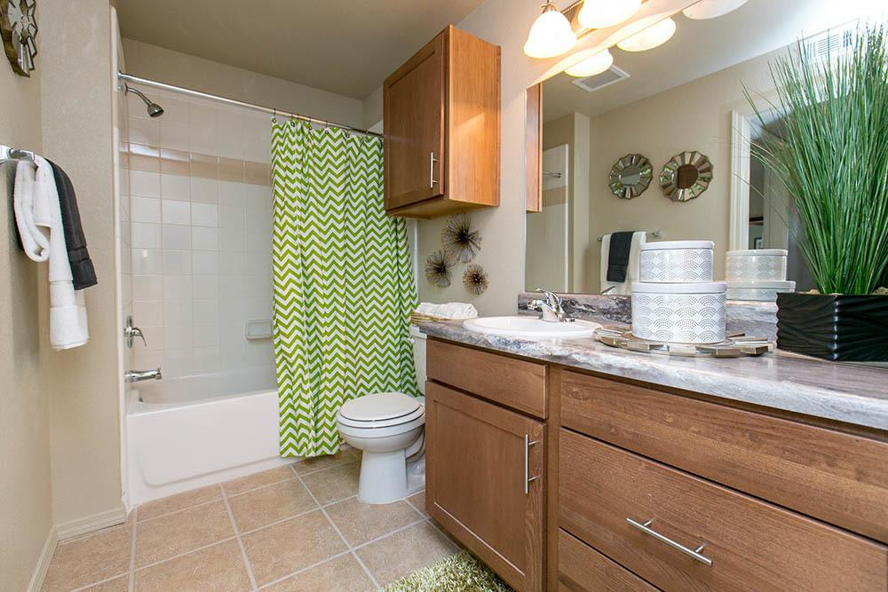 Nicely decorated bathroom at Tuscana Bay Apartments