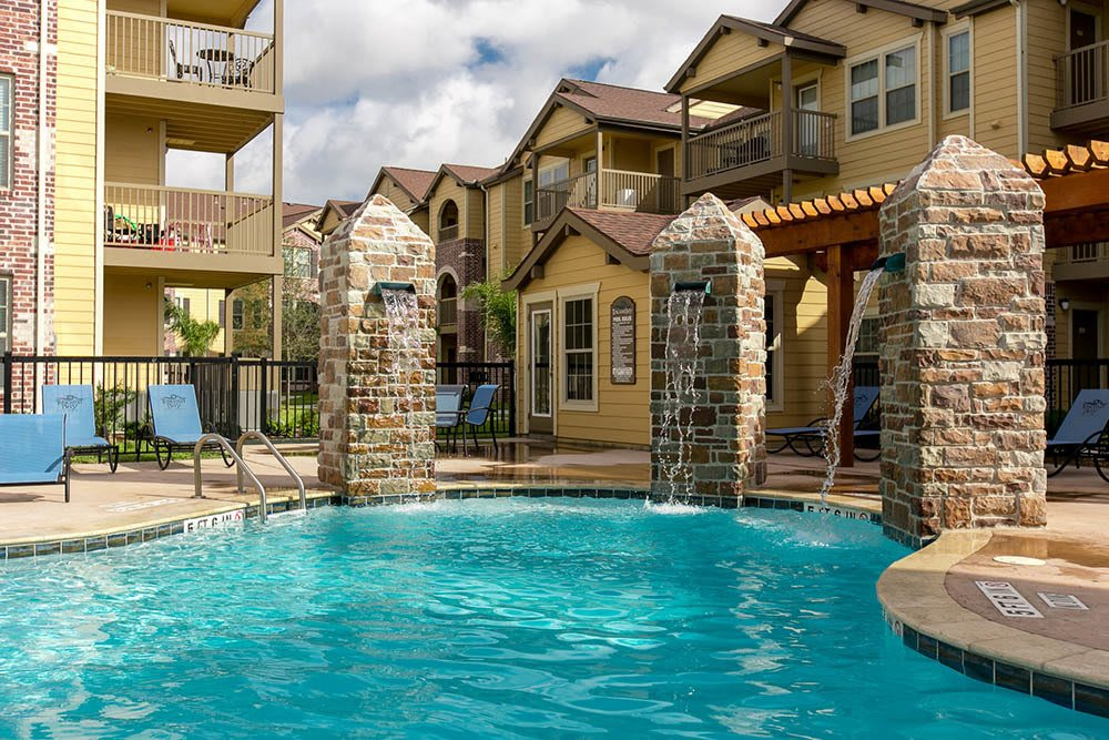 Our beautiful water features and pool at Tuscana Bay Apartments
