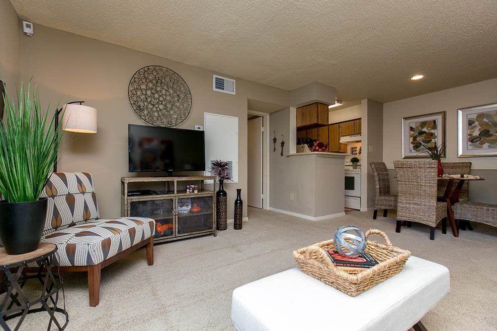 Living room at Walnut Ridge Apartments in Corpus Christi