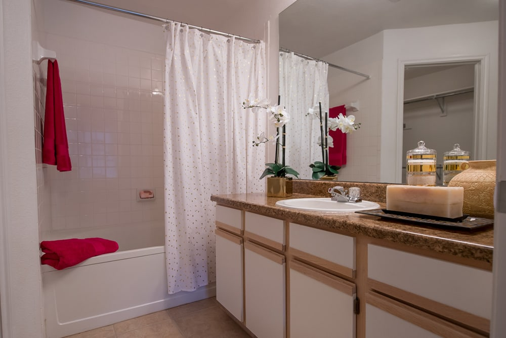 Shower at apartments at Arbors of Pleasant Valley