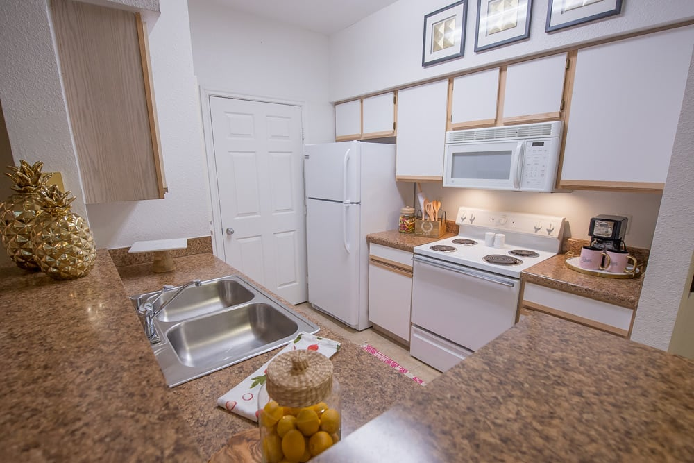 Apartments at Arbors of Pleasant Valley include granite countertops