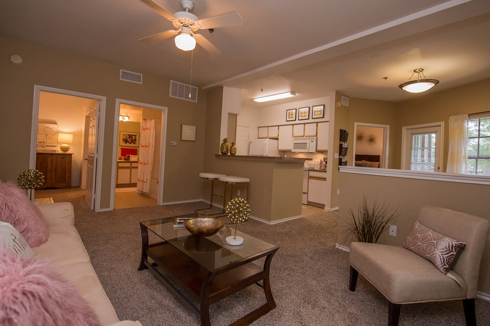 Open concept living room at Arbors of Pleasant Valley