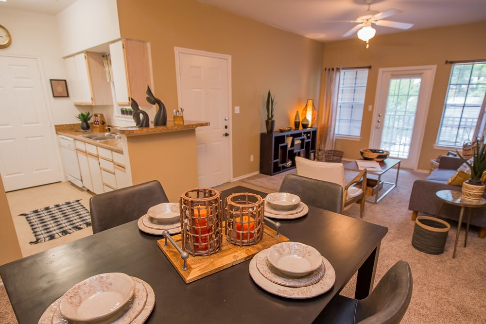 Open dining room at apartments in Little Rock