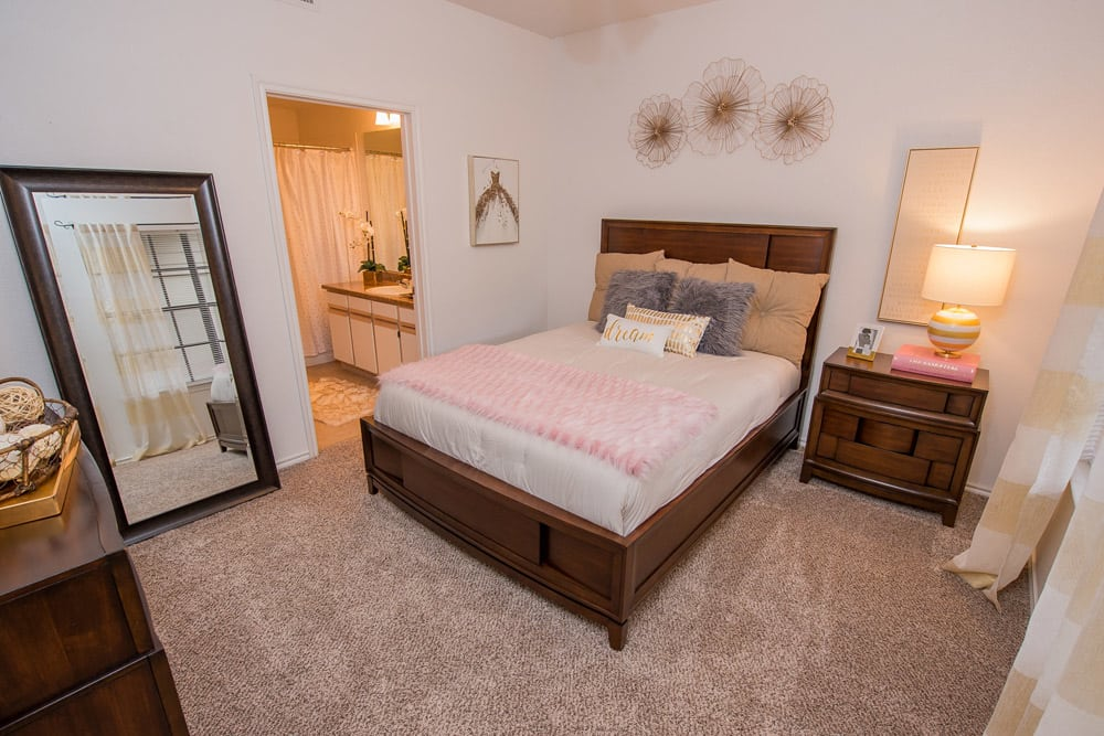 Bedroom at apartments in Little Rock