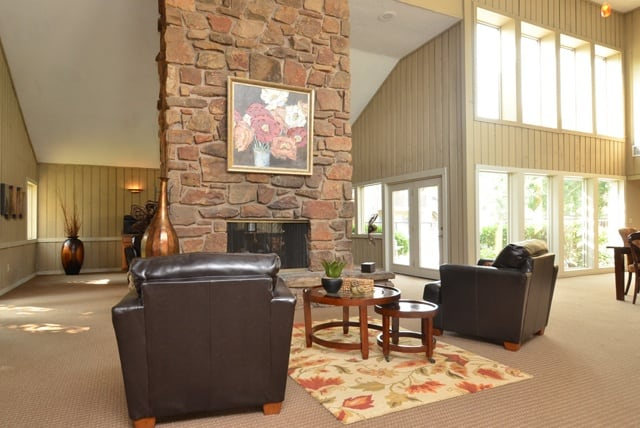 Seating and fireplace at Aspen Park Apartments