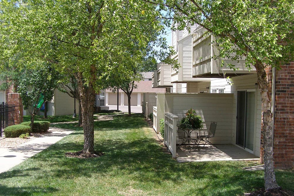 Private patios and balconies at Huntington Park Apartments in Wichita