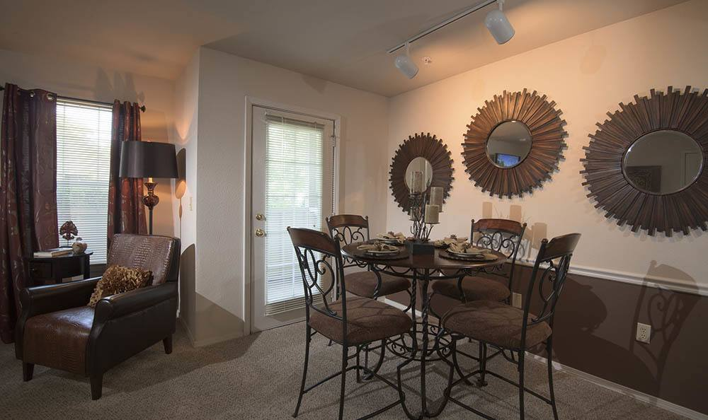 Dining room at Newport Wichita apartments
