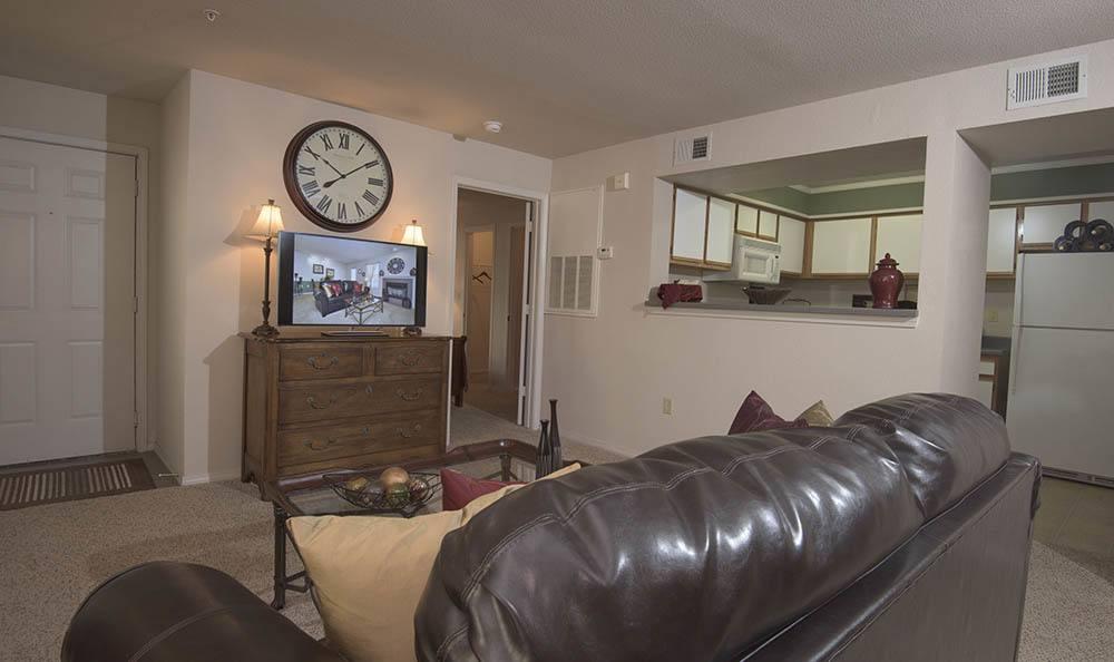 Living room at apartments at Newport Wichita in Kansas