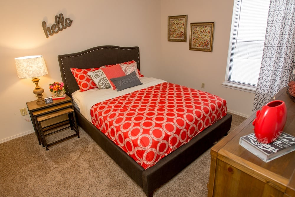 Modern bedroom at apartments in Wichita, Kansas