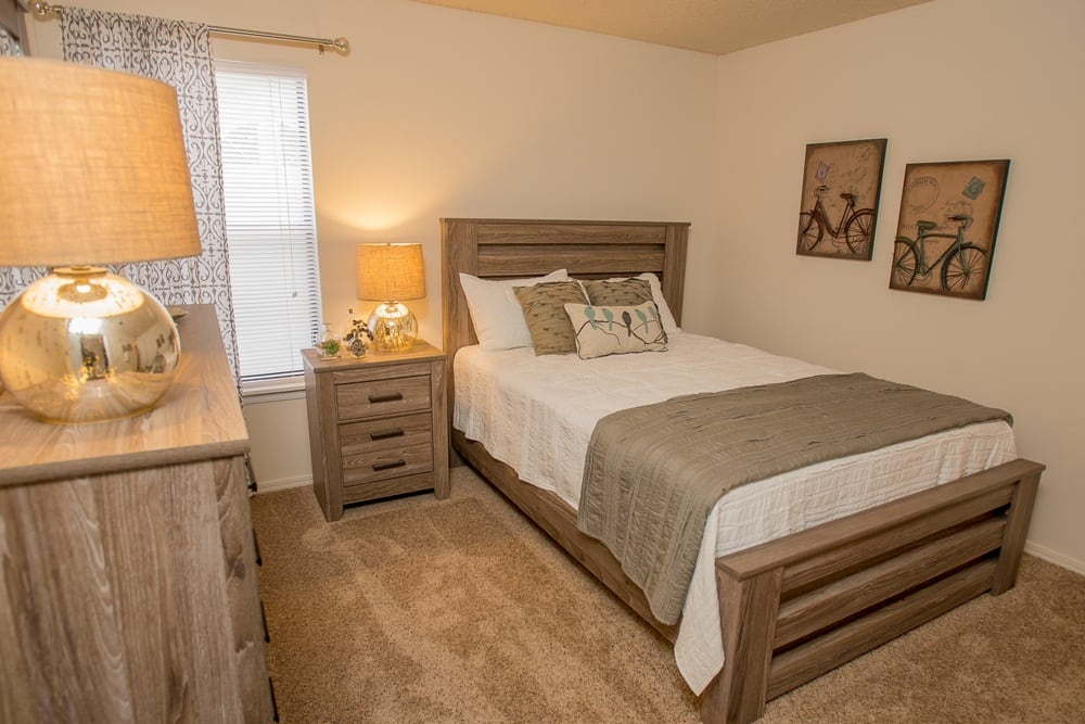 Renovated bedroom at Raintree Apartments in Wichita, Kansas