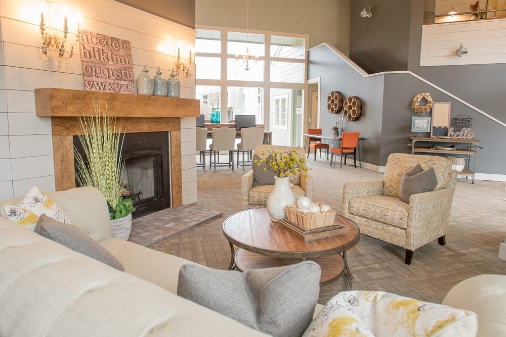 Cozy living room at apartments in Wichita, Kansas