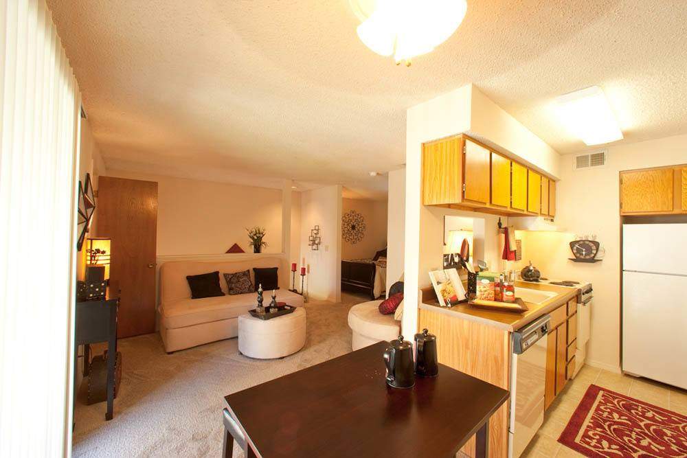 Living room and kitchen view at Silver Springs Apartments