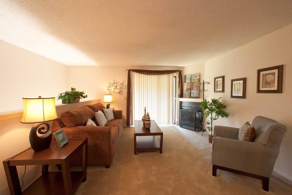 Spacious living room at Silver Springs Apartments in Wichita