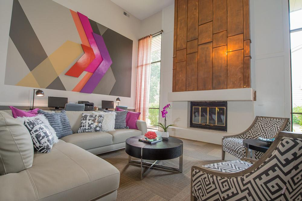 Modern living room at apartments in Wichita, Kansas