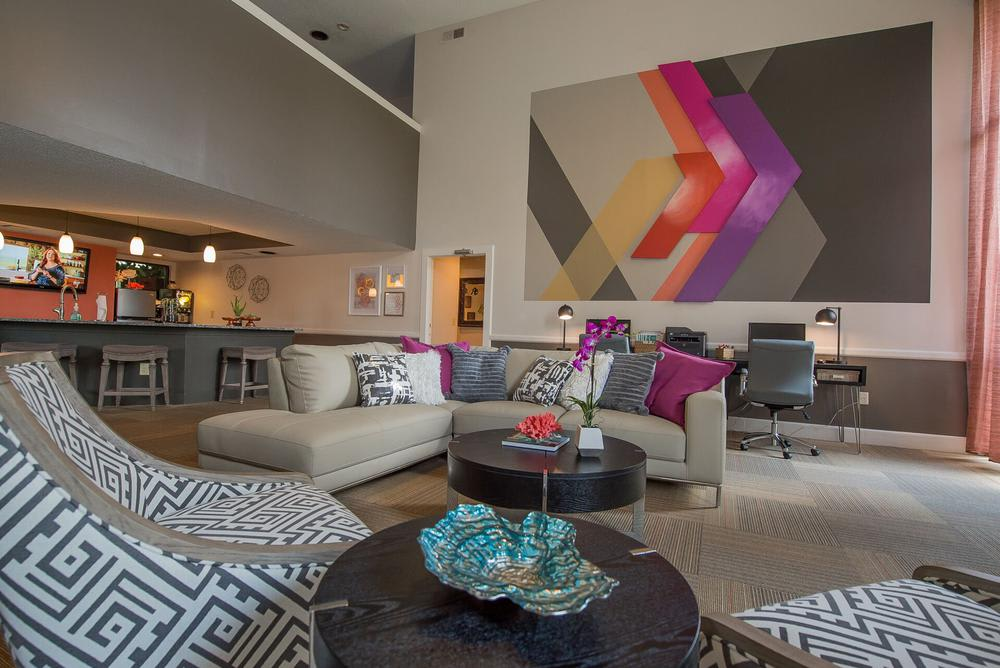 Spacious living room at apartments in Wichita, Kansas