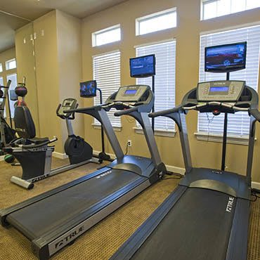 Our well equipped fitness center at Fountain Lake