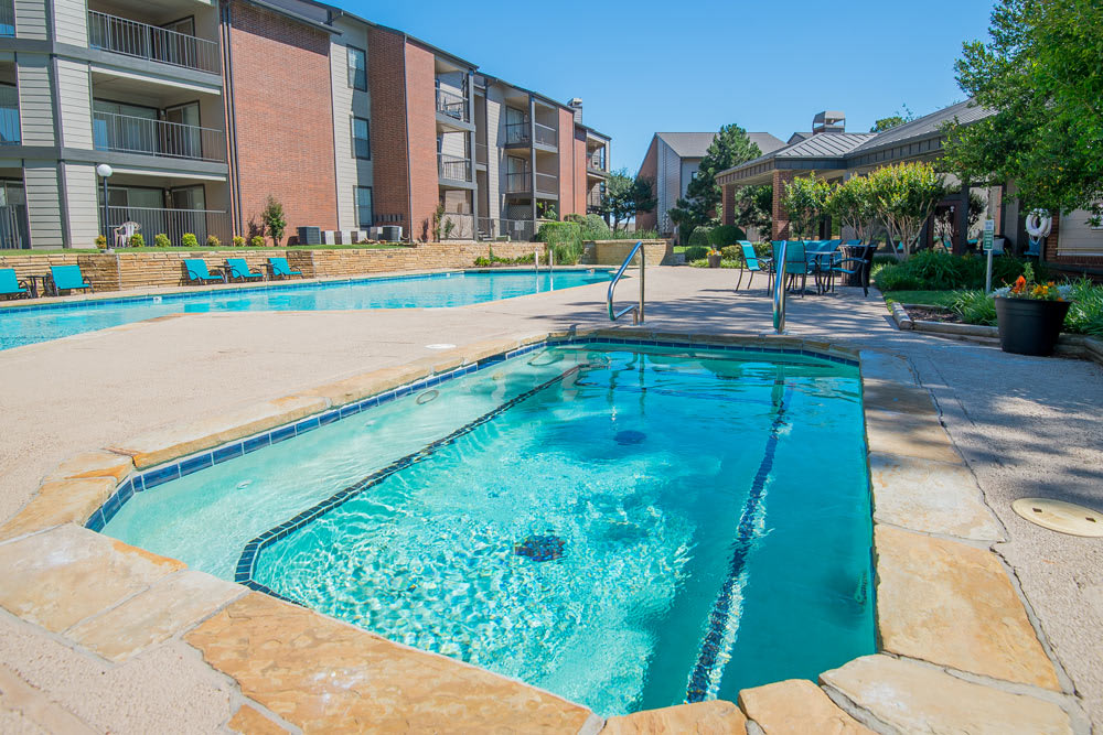 Oklahoma City apartments includes a pool and hot tub