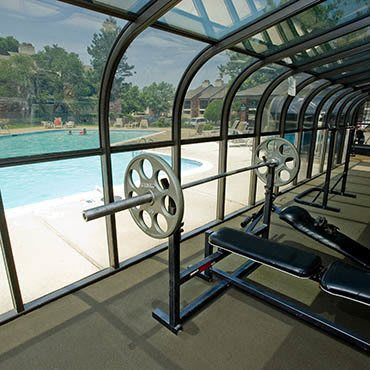 Our well equipped fitness center at Warrington Apartments