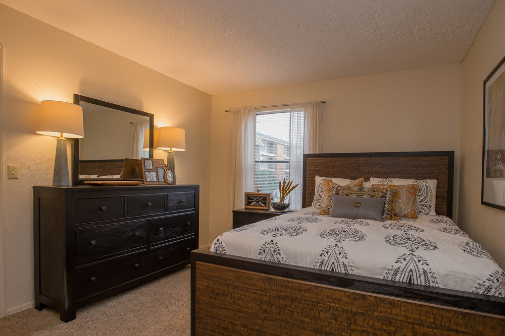 Beautiful Bedroom at Woodscape Apartments in Oklahoma City