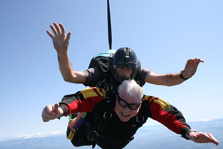 Resident sky diving at the senior living in lynnwood