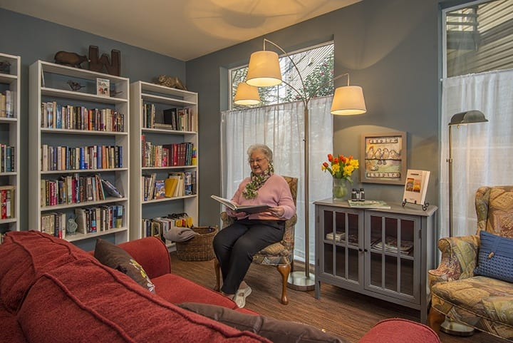 Lynwood senior living spacious library