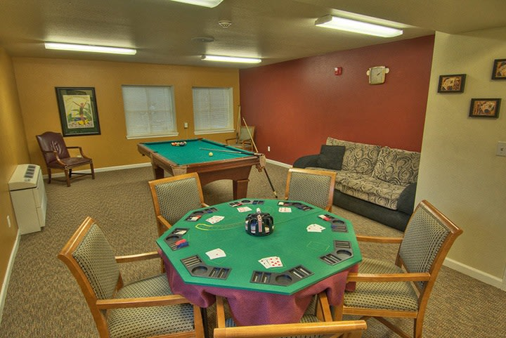 A view inside the game room at Renton senior living