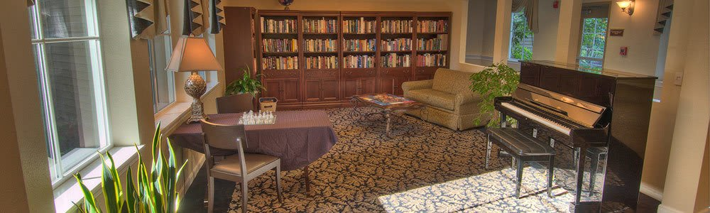 The library at our senior living community in Renton