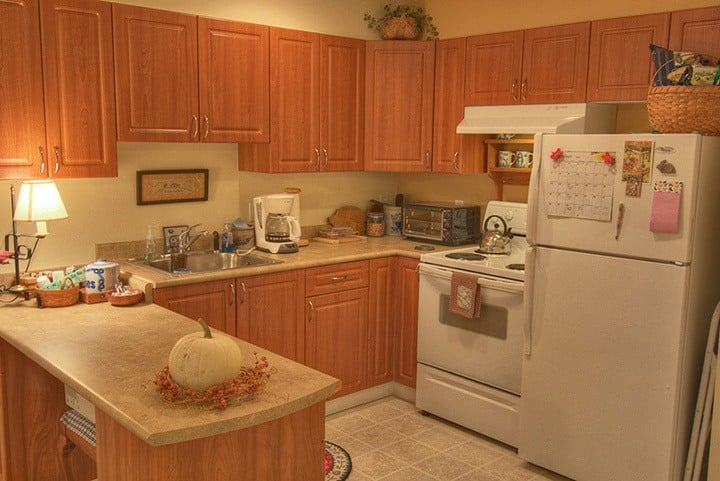 The kitchen inside senior living apartments in Renton