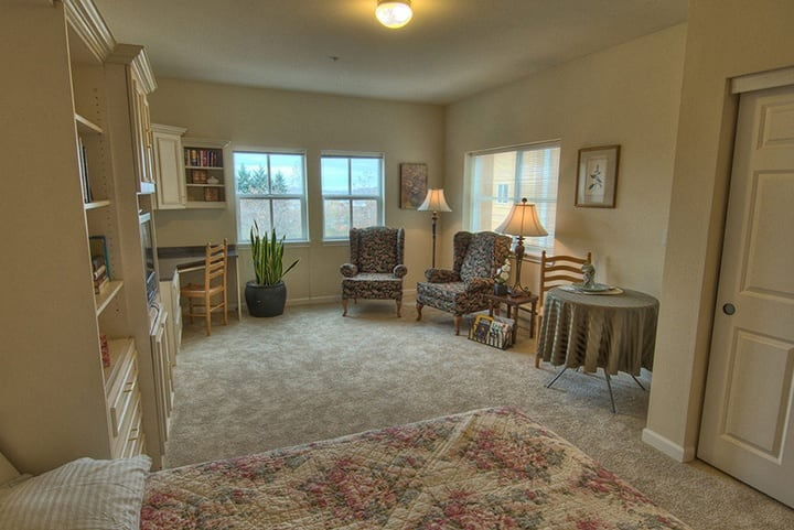 A view inside Renton senior livings studio apartment