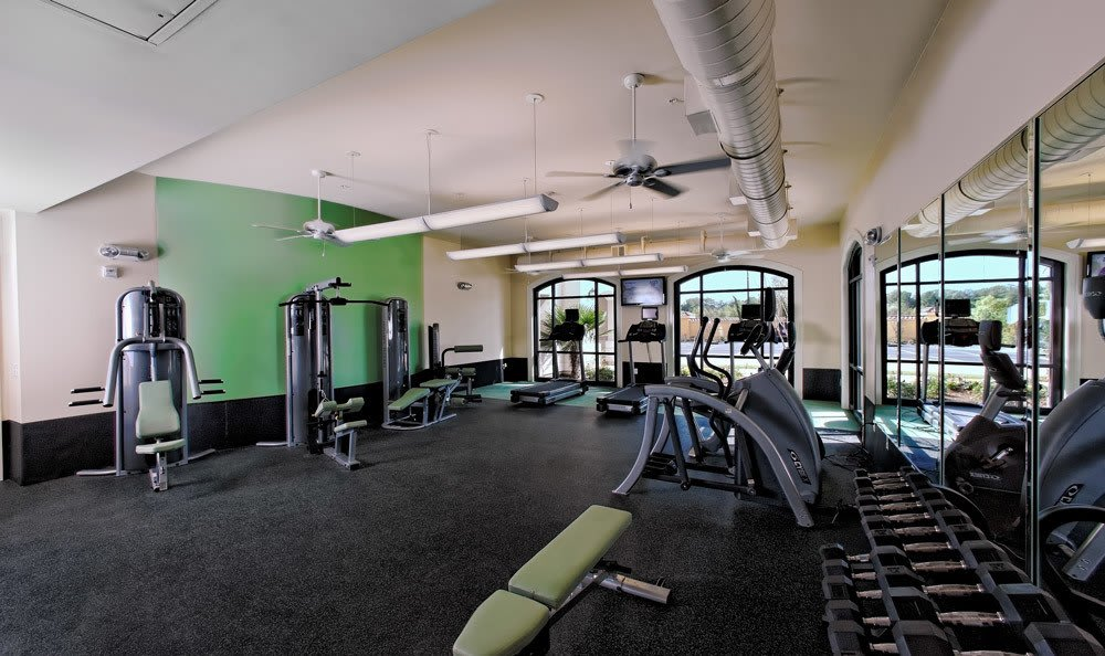 Fitness Center With Fans And Weights