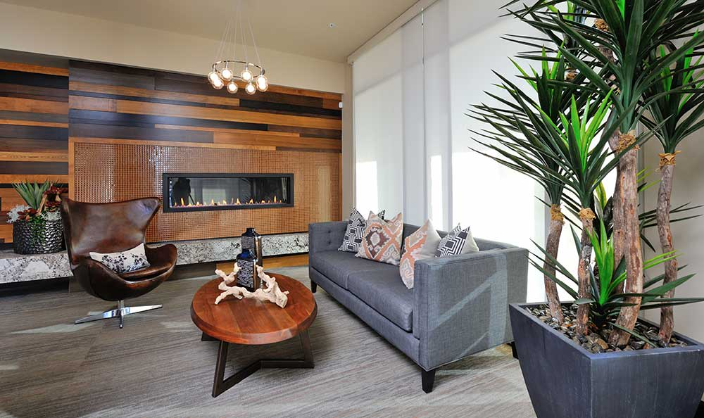 Enjoy a faux and modern fireplace setting at 422 At The Lake.