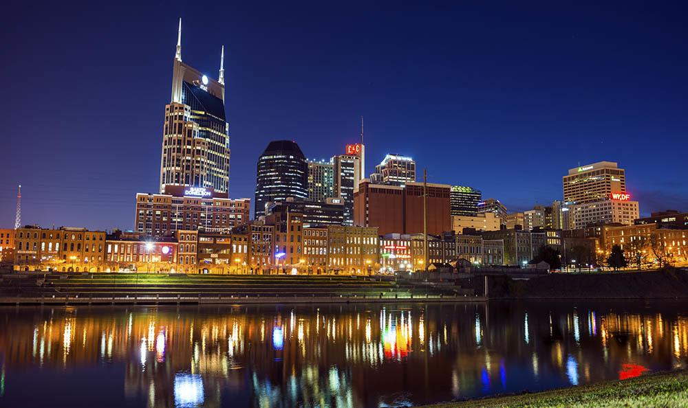 Beautiful city skyline of Nashville, Tennessee near Artisan on 18th