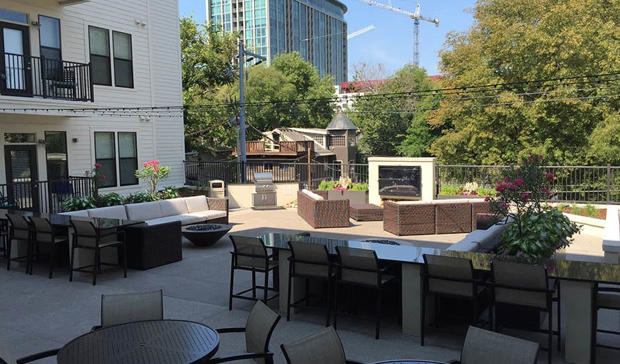 Outdoor seating area at Artisan on 18th in Nashville, Tennessee