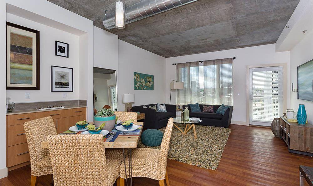 Open floor plans combine kitchen and dining rooms