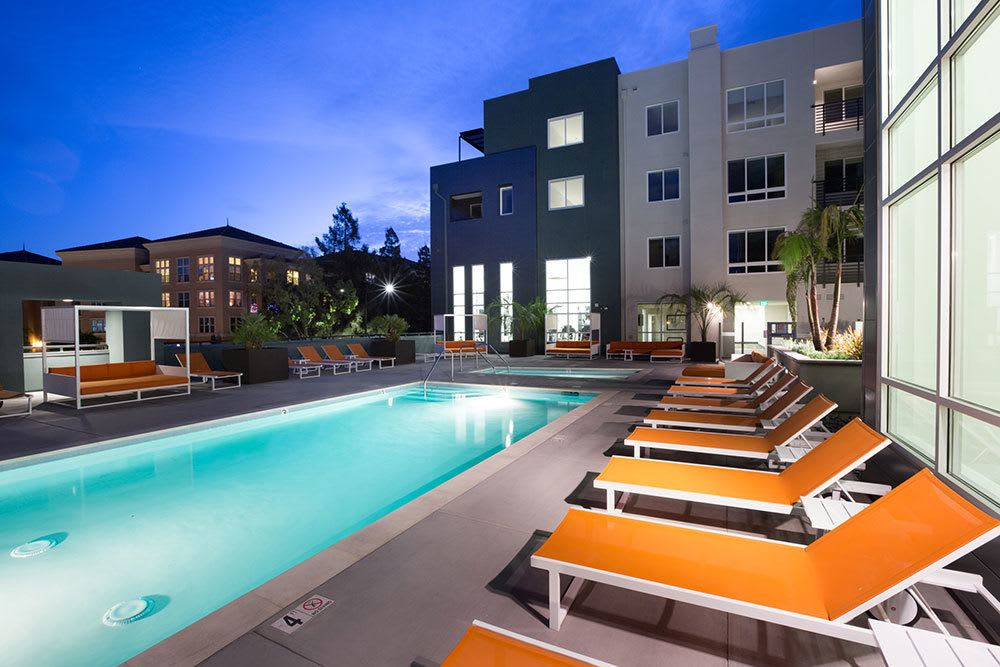 Lap pool and spa at our luxury apartments in San Jose