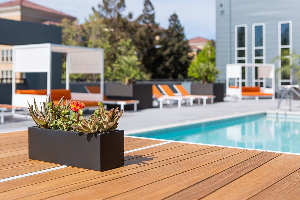 The pool and cabanas at our luxury apartment community in San Jose