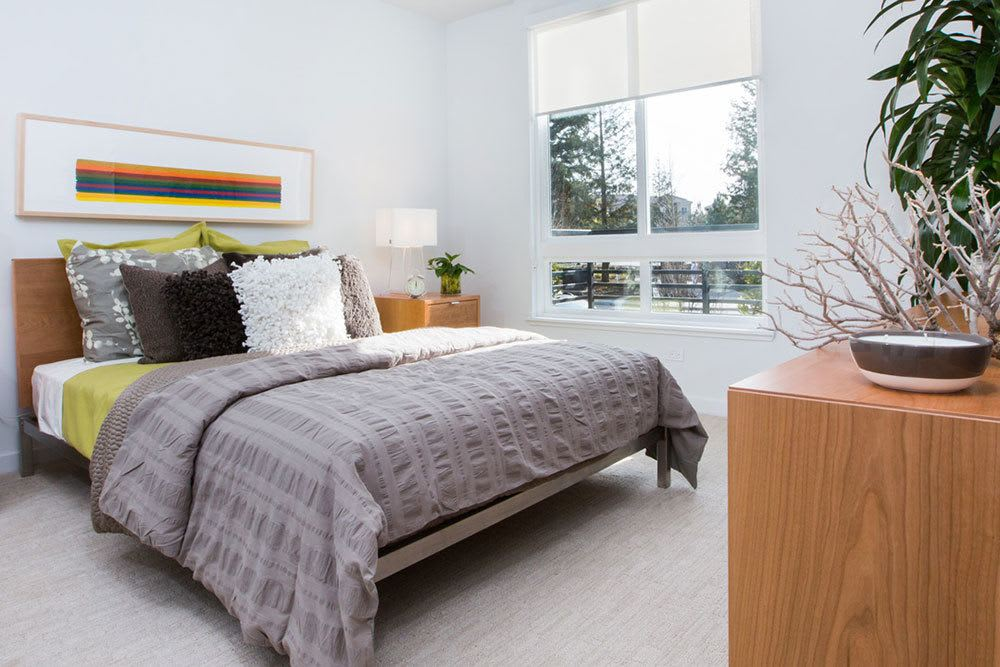 Stylish modern bedroom at San Jose apartments