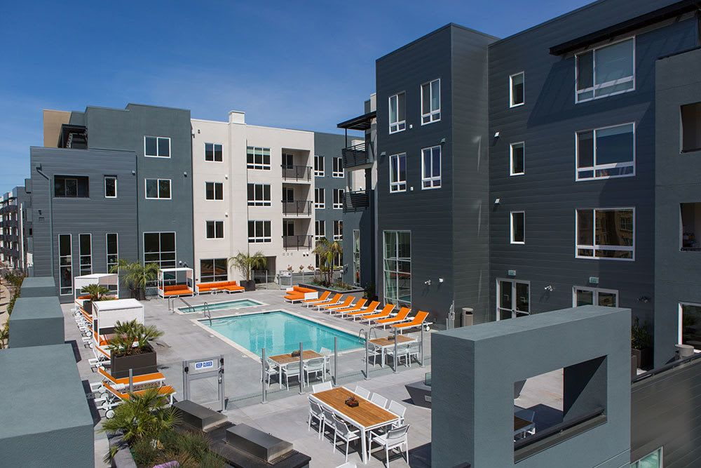 The pool and cabanas at our luxury apartment community in San Jose, CA