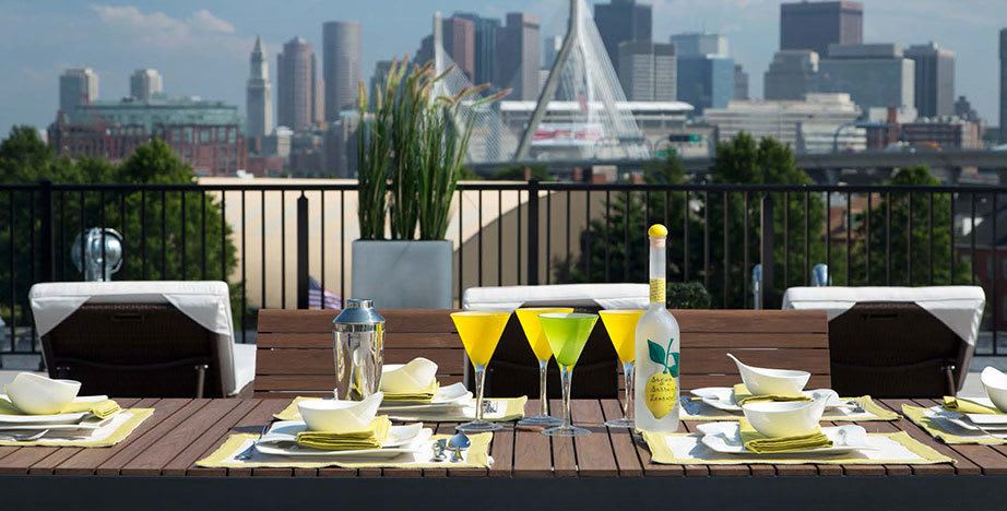 Rooftop dining at our Charlestown apartments