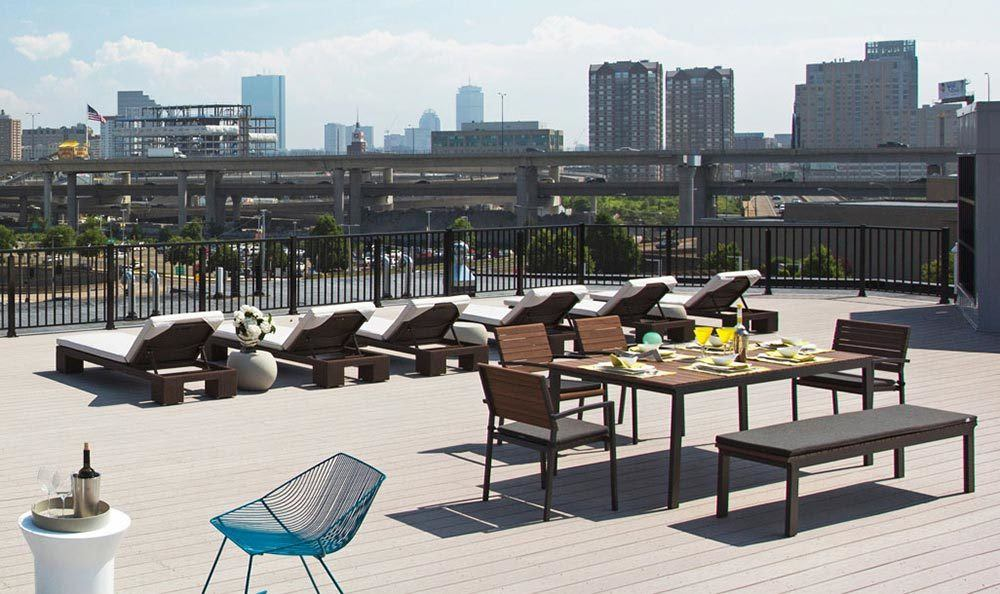 The rooftop lounge at our Charlestown apartments