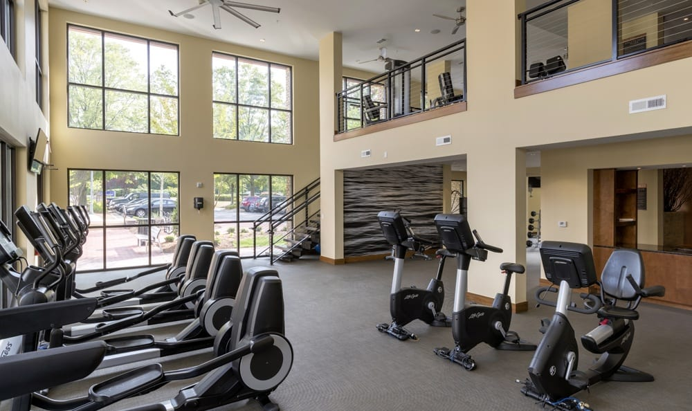 Fitness center at apartments in Durham