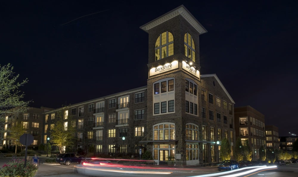 Exterior views of Berkshire Ninth Street at night