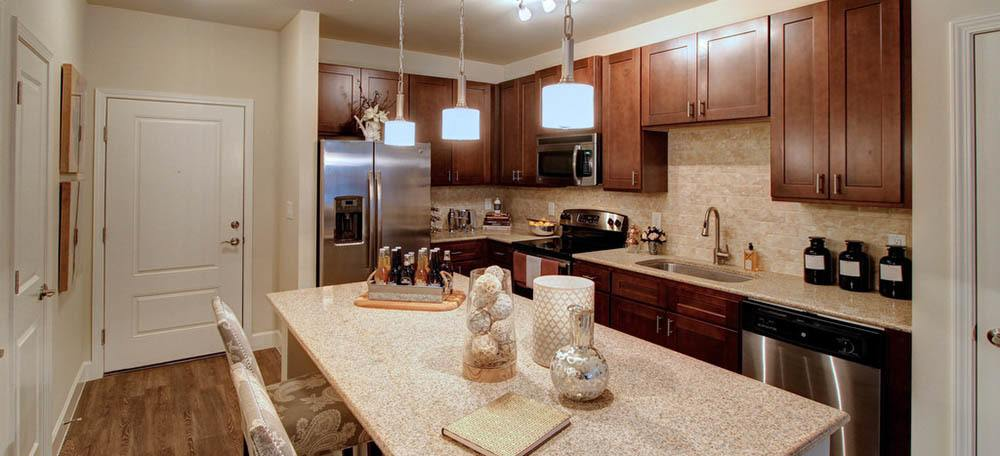 Gourmet kitchens come complete with beautiful granite countertops
