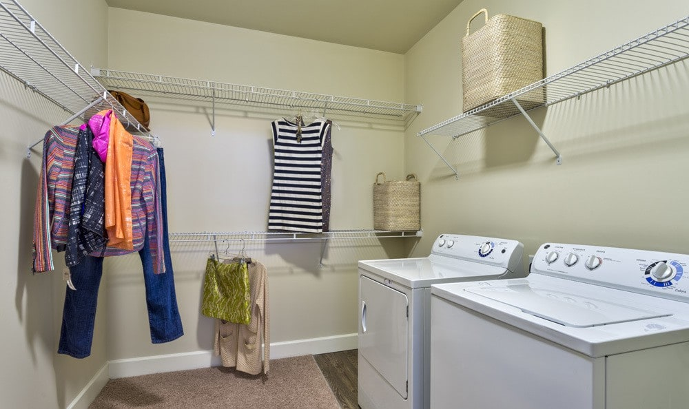 Laundry room at apartments in Raleigh