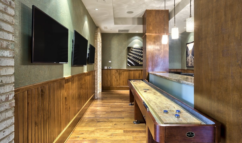 Game room at apartments in Raleigh