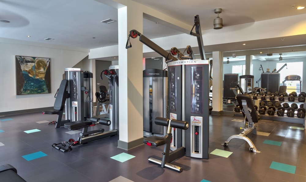 Fitness center at apartments in GA