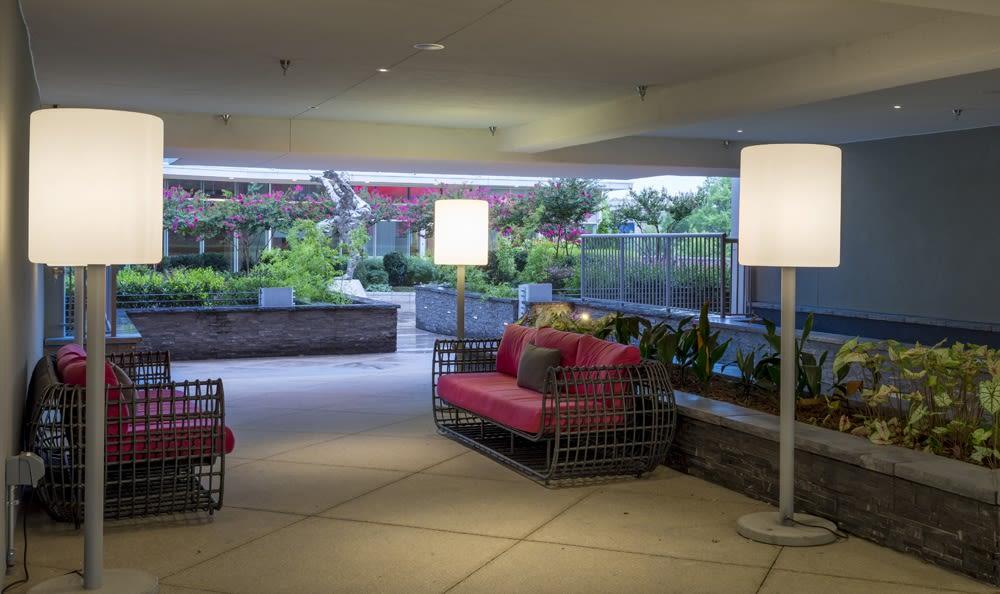 Outdoor seating at apartments in Atlanta