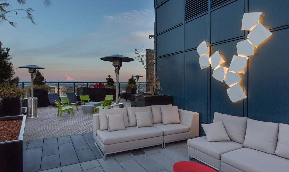 Deck sitting area at Seattle apartments.